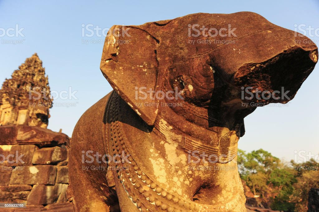 Elephant statue in Angkor Wat,Cambodia. stock photo
