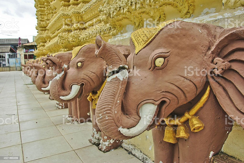 Elephant statue in the temple Of Thaialnd royalty-free stock photo