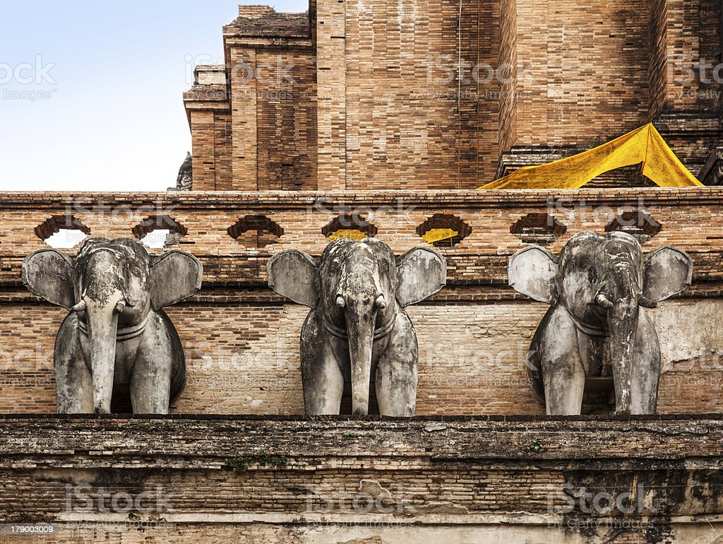Elephant statue of Wat Chedi Luan in Chiang Mai,Thailand. royalty-free stock photo