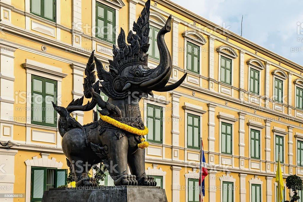 Elephant statues near Ministry of Defense, Bangkok, Thailand stock photo