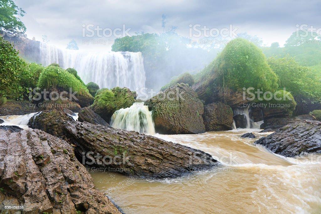 Elephant waterfall in central highlands. Dalat, Vietnam stock photo