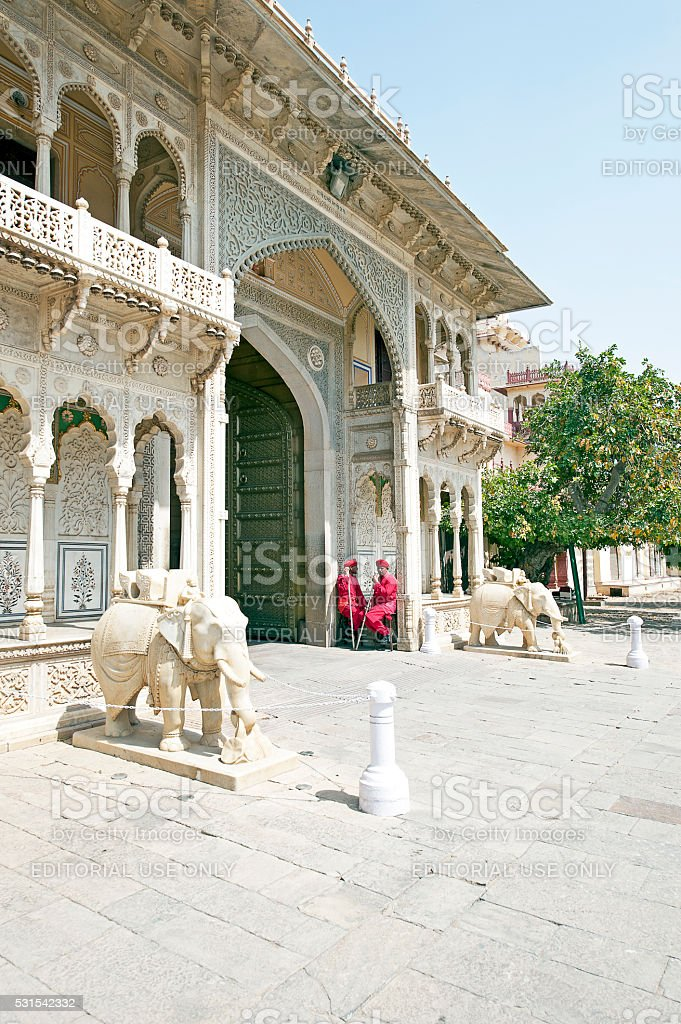 Elephants and guards, City palace, Jaipur, India stock photo