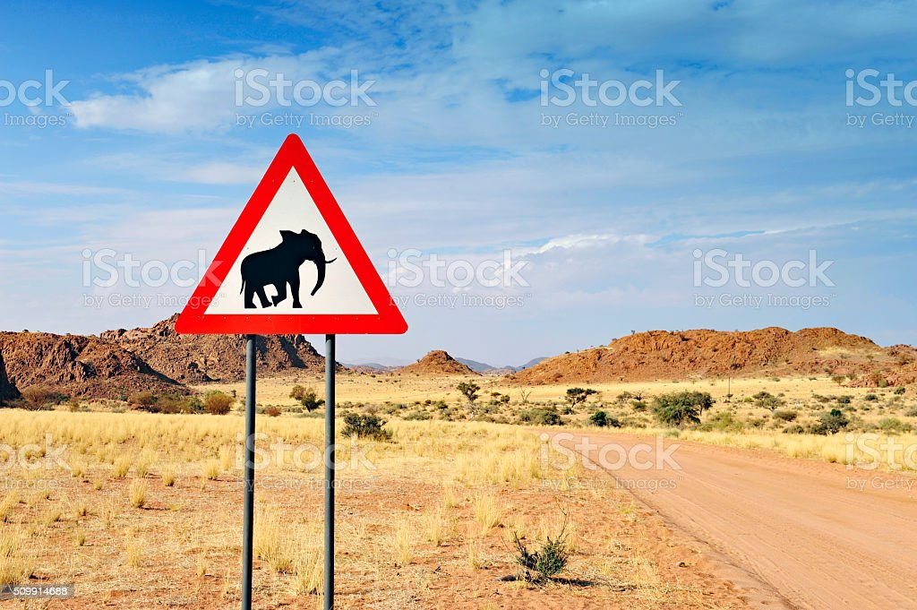 Elephants crossing sign in Namibia stock photo