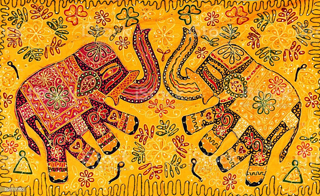 Elephant's design handmade rug - colorful souvenirs from India stock photo