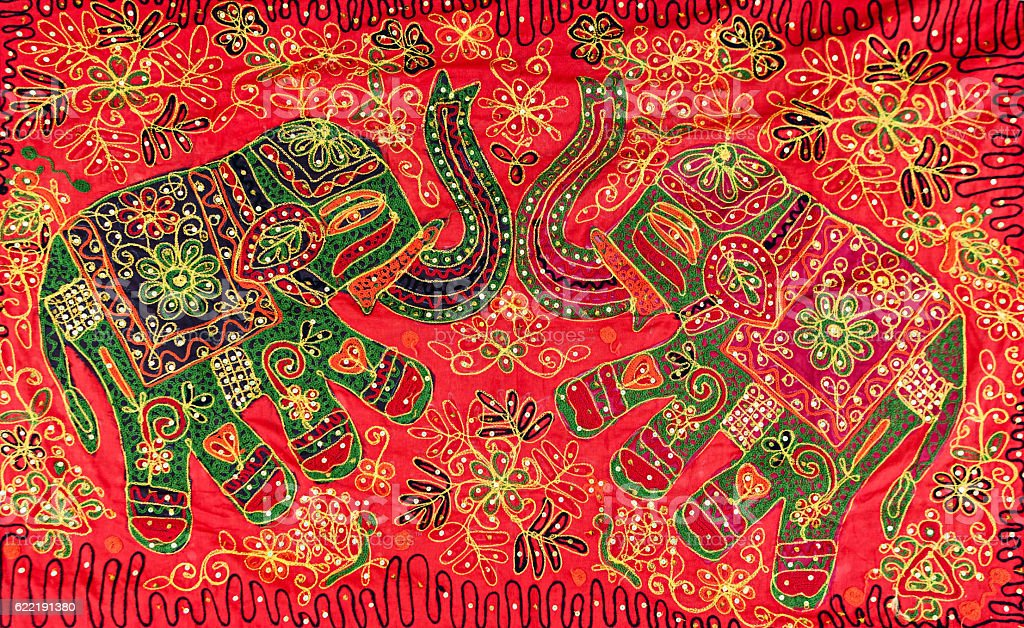 Elephant's design rug - handmade, colorful souvenirs from India stock photo
