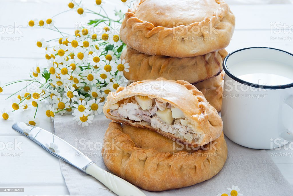 Elesh - traditional Tatar pastry with meat and potato stock photo