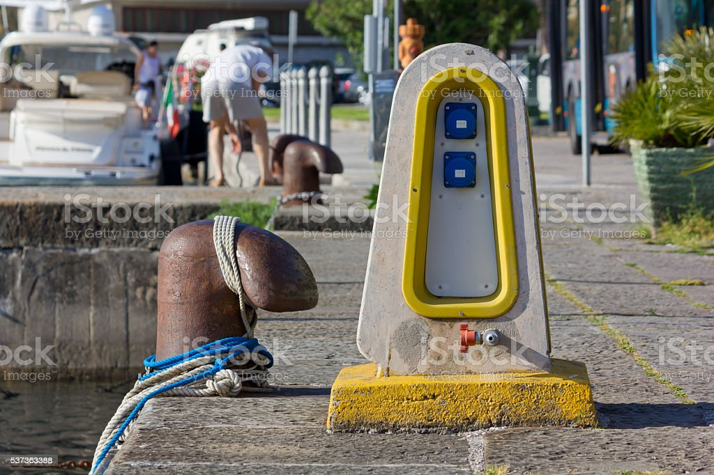 Eletrical Distribution Pedestal on a Jetty stock photo