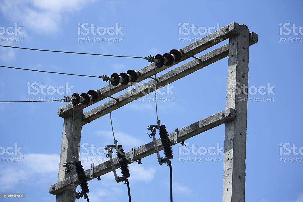 Eletricity line and electricity post stock photo