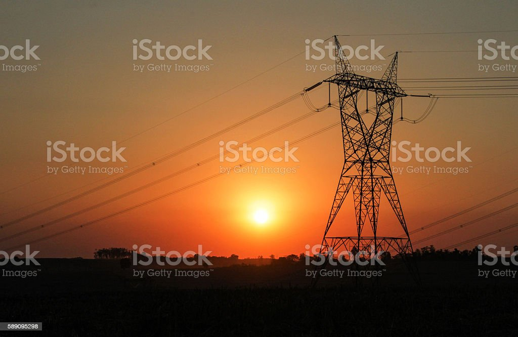 Eletricity tower providing energy distribution stock photo