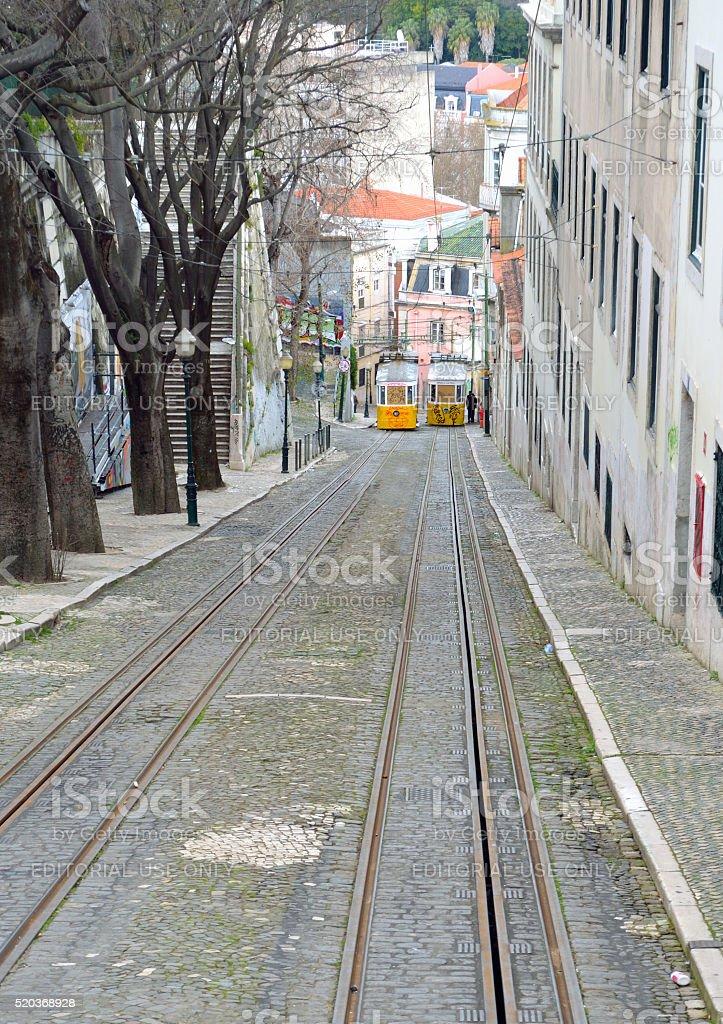 Elevador da Gloia vintage funicular railway stock photo