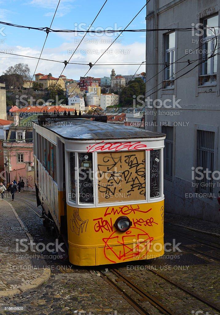 Elevador da Gloria vintage funicular railway with graffiti. stock photo
