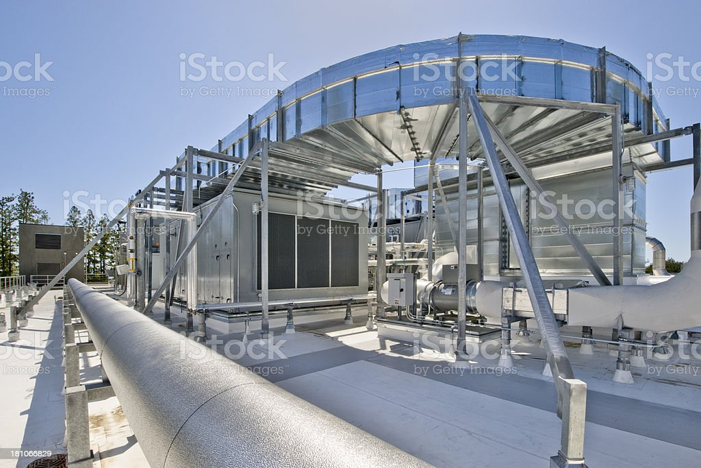 Elevated Air Ducts with Cooling Towers stock photo