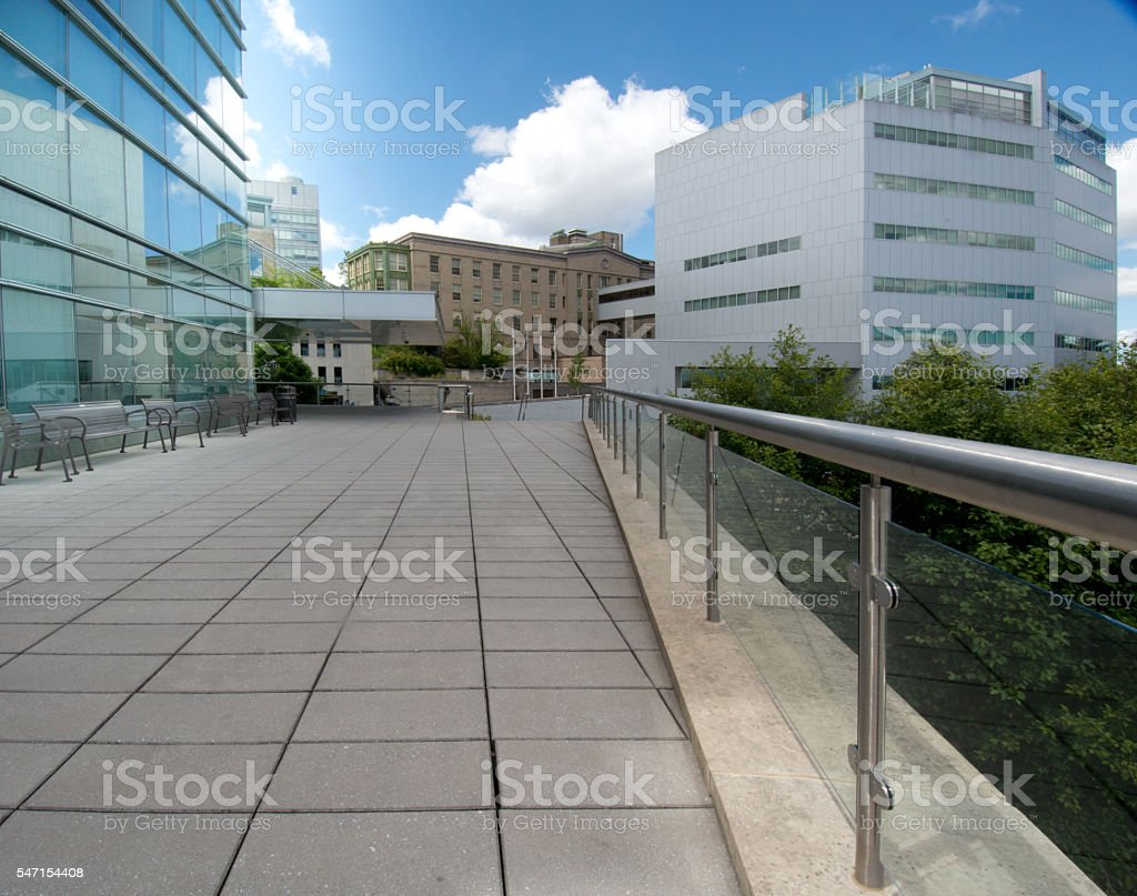 Elevated Architectural Sidewalk, Buildings, Exterior Business Background, Diminishing Perspective, XXXL stock photo
