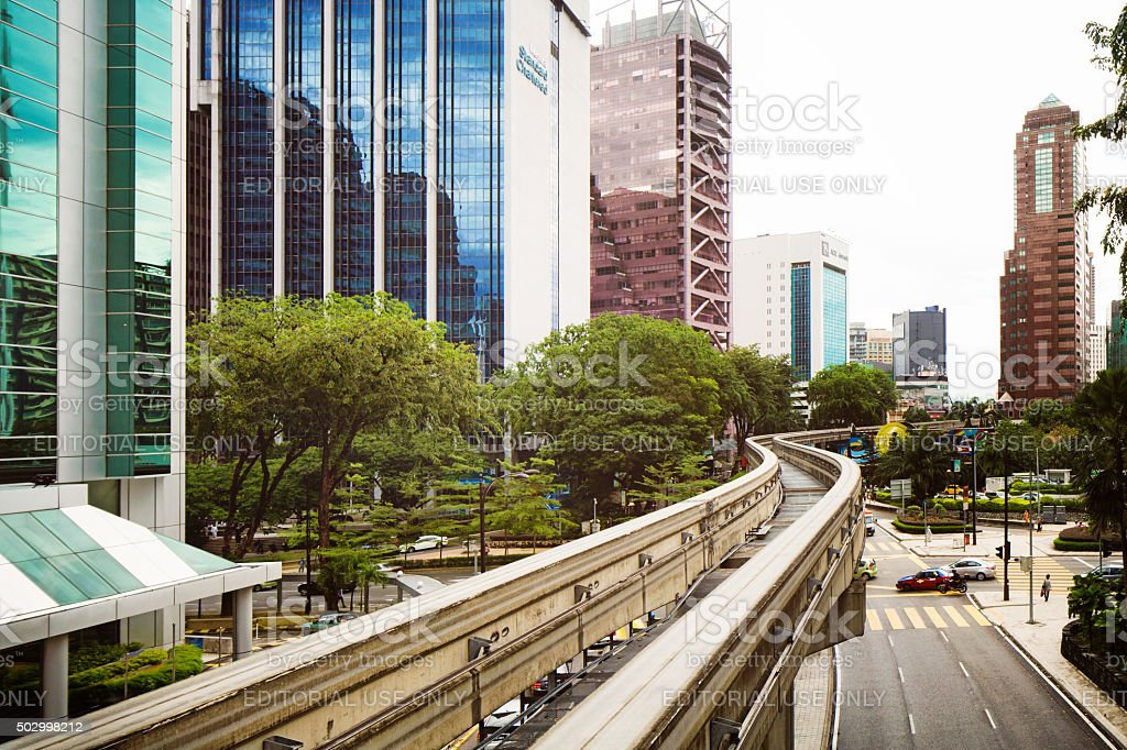 Elevated curved monorail tracks in Kuala Lumpur stock photo