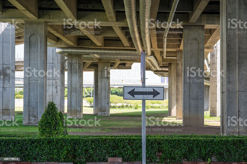 Elevated expressway below stock photo