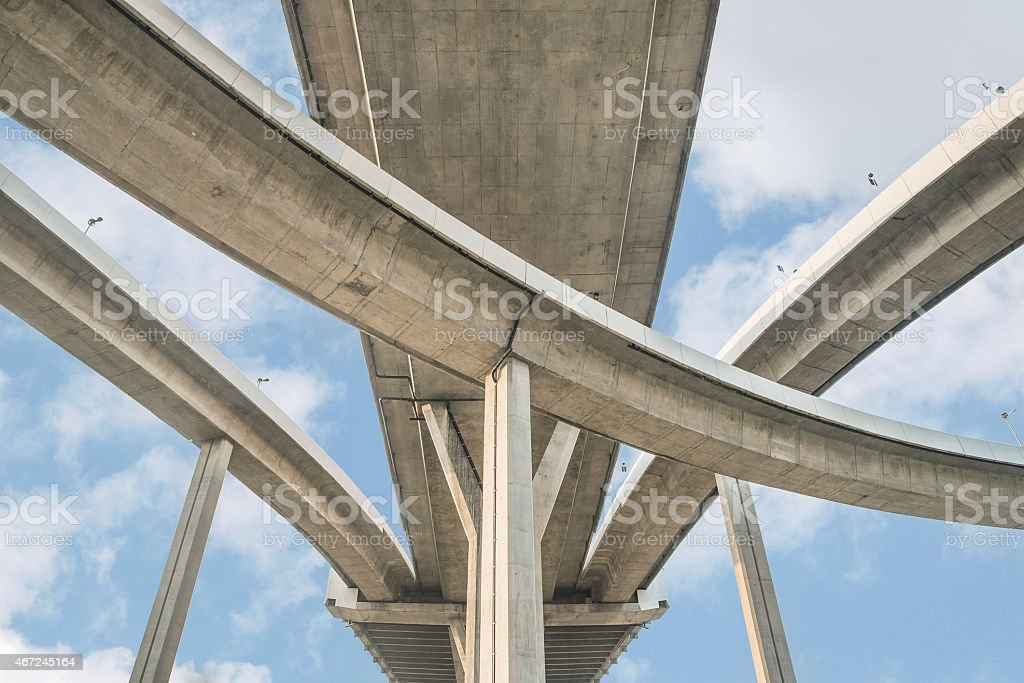 Elevated expressway. The curve of suspension bridge, Thailand. stock photo