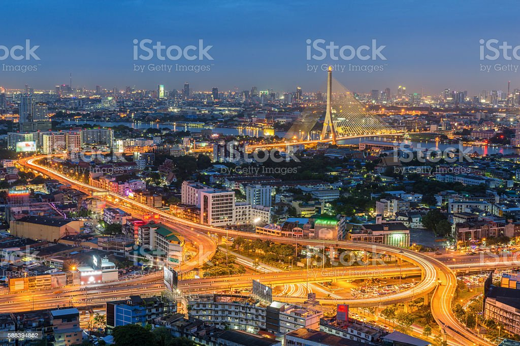 Elevated highway and overpass road with bridge in Bangkok, Thailand. stock photo