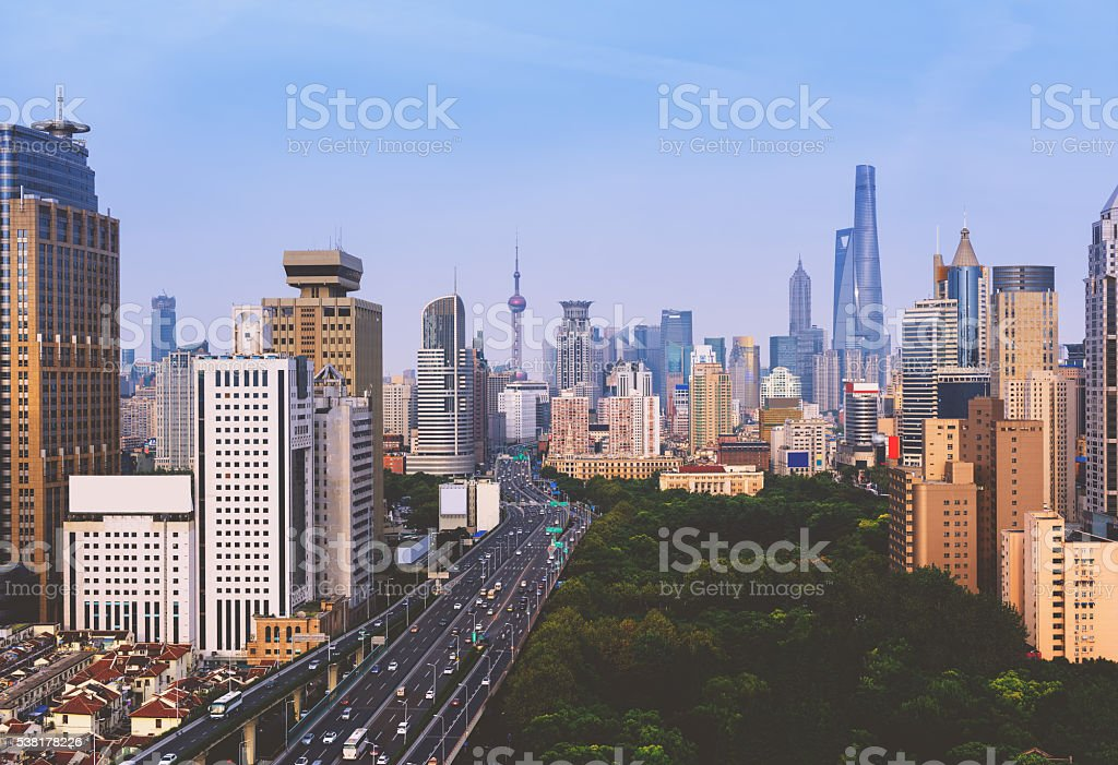 Elevated Highway in Shanghai, China. stock photo