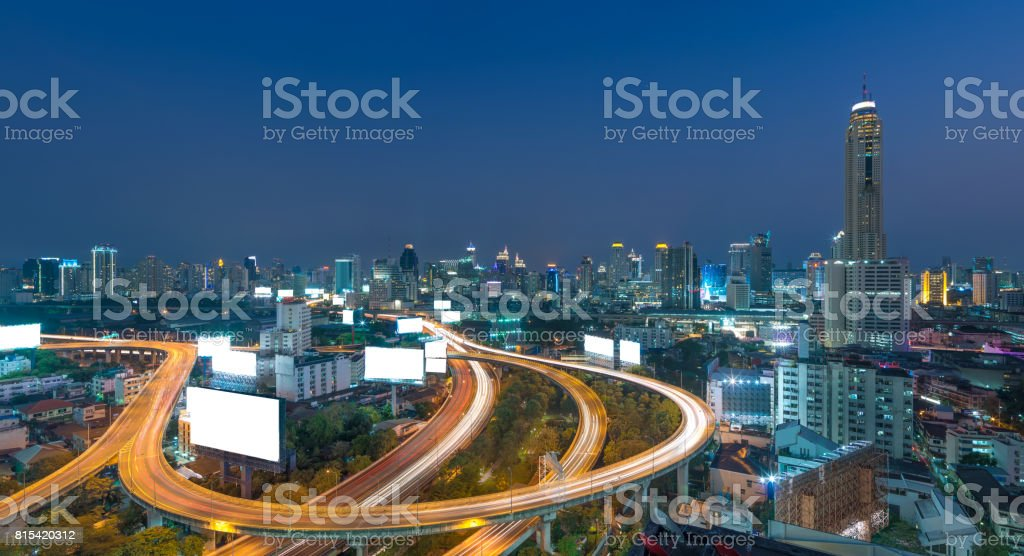 Elevated highway The curve of the bridge in Bangkok cityscape, closely the business district. stock photo