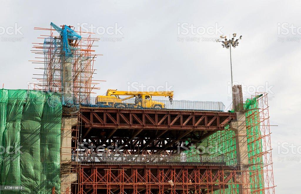 Elevated highway under construction in Yangon, Myanmar. stock photo