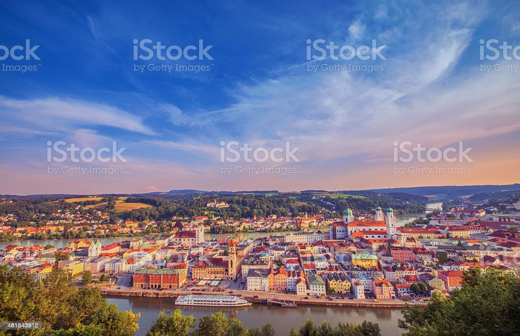 Elevated panoramic view on Passau at dusk stock photo