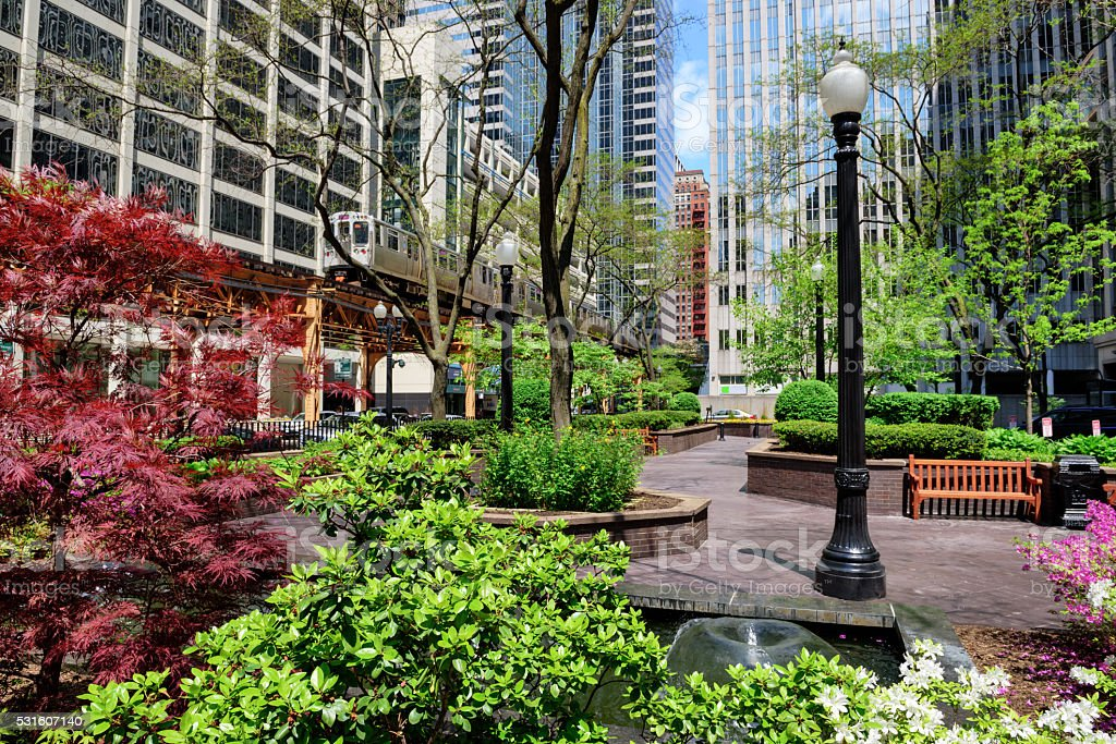 Elevated railway and park in The Loop,  Chicago stock photo