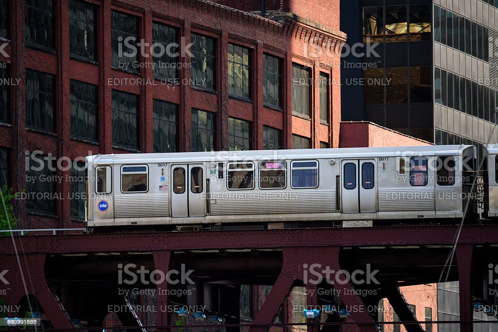 Elevated railway train on bridge in Chicago stock photo