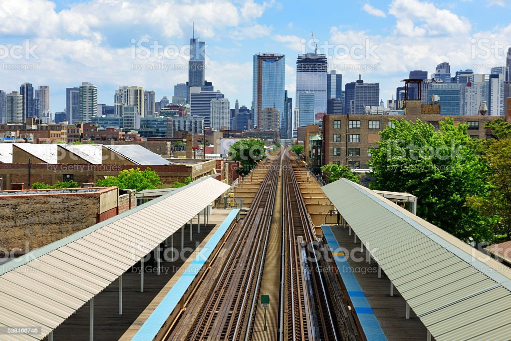 Elevated Railway train Station in Chicago stock photo