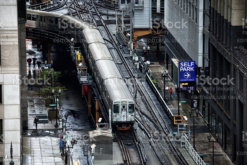 Elevated Railwayand train  in Chicago from above stock photo