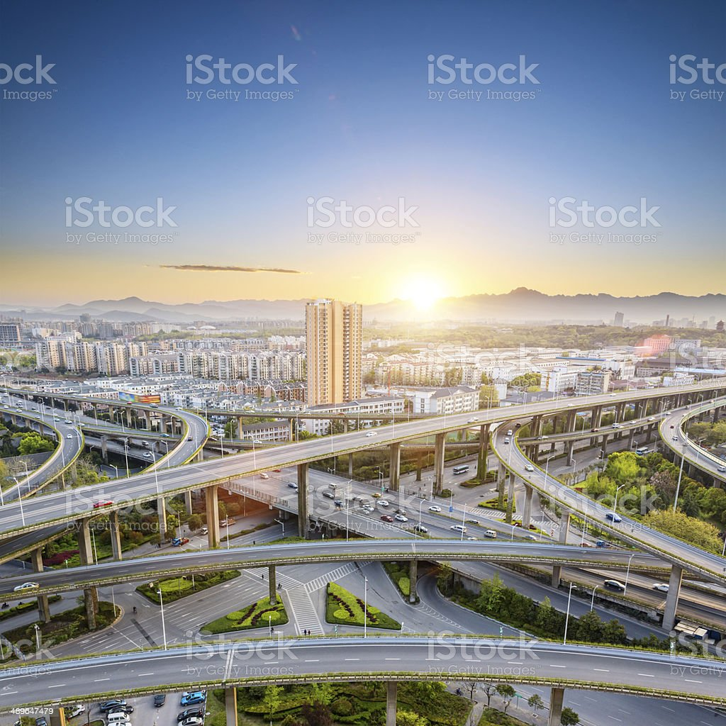 elevated road junction stock photo