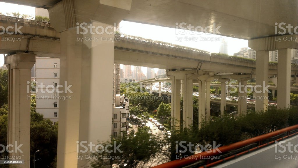 Elevated Road Junction, Shanghai stock photo