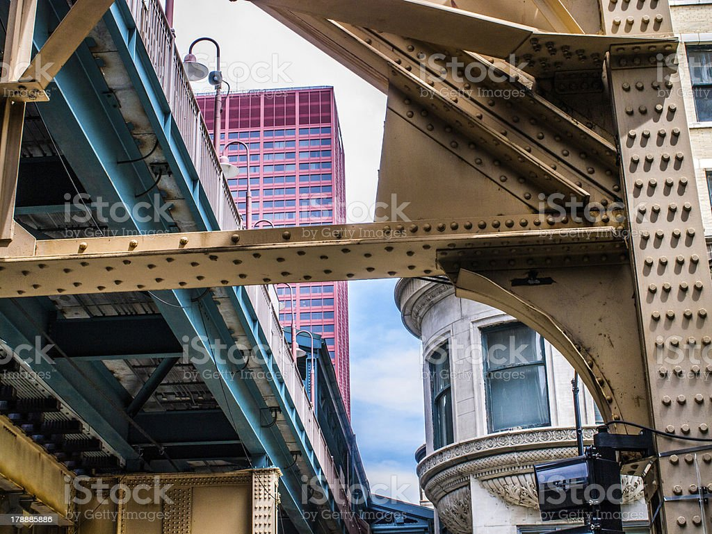 Elevated tracks in Chicago loop stock photo