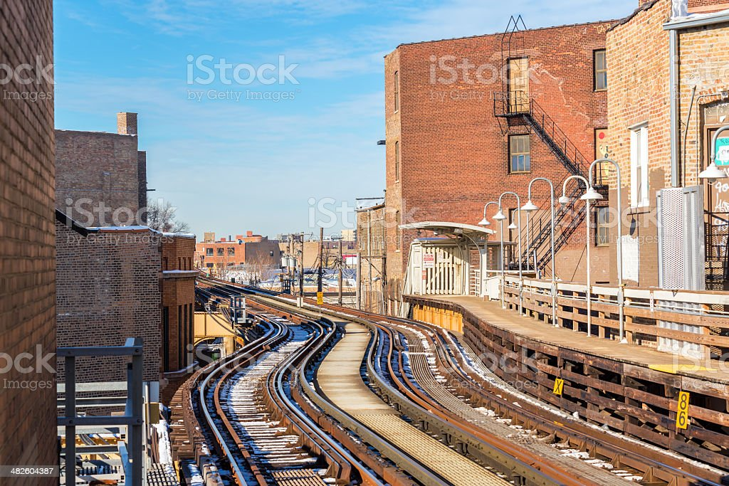 Elevated Tracks in Chicago stock photo