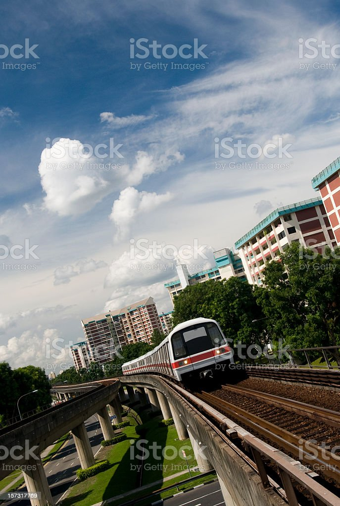Elevated Train Approach royalty-free stock photo
