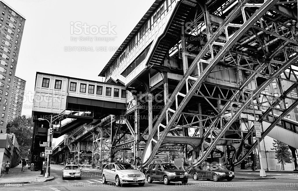 Elevated train tracks in Harlem stock photo