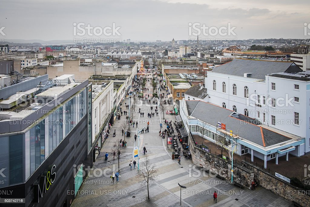 Elevated view along Cornwall Street and Plymouth City Centre, UK stock photo