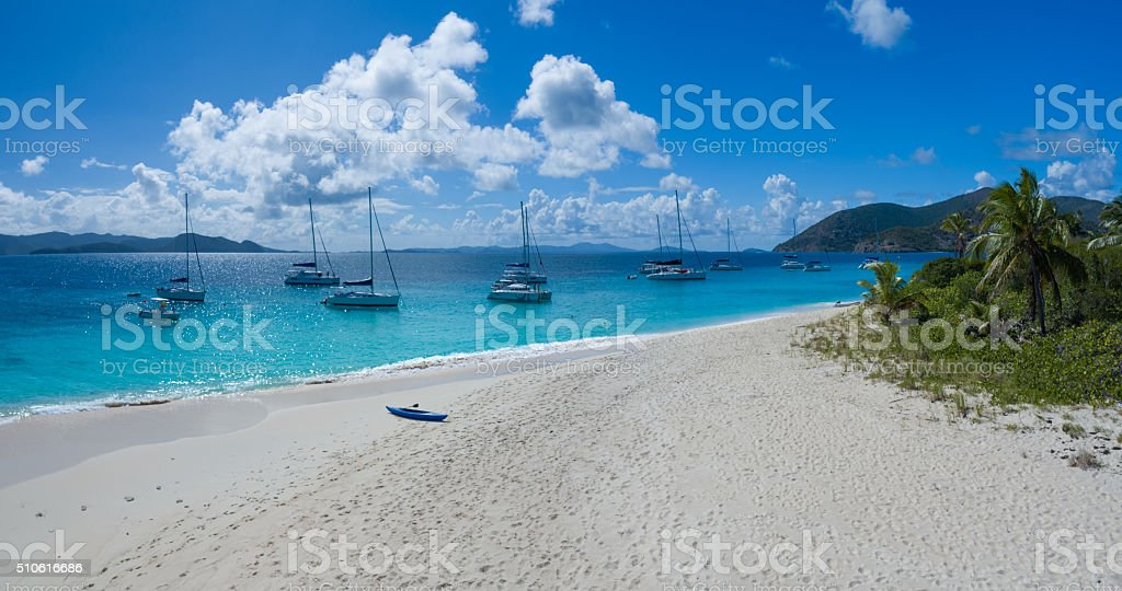 Elevated view of a Caribbean beach stock photo