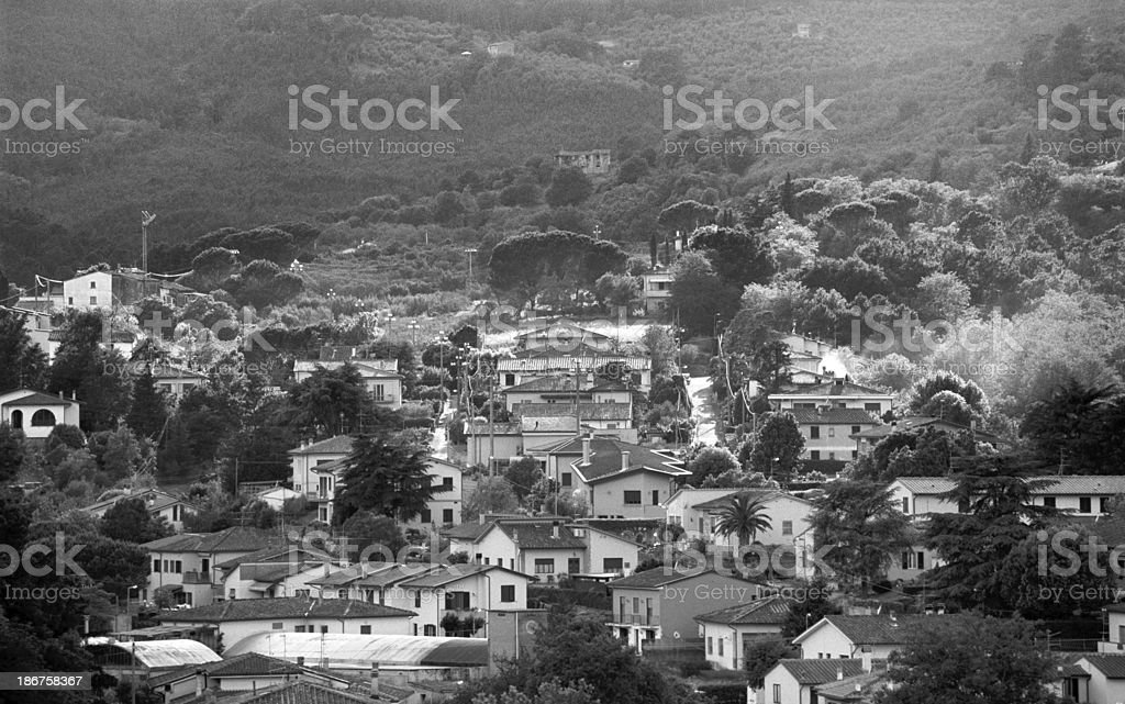 Elevated view of a Tuscan village on the  mountains royalty-free stock photo