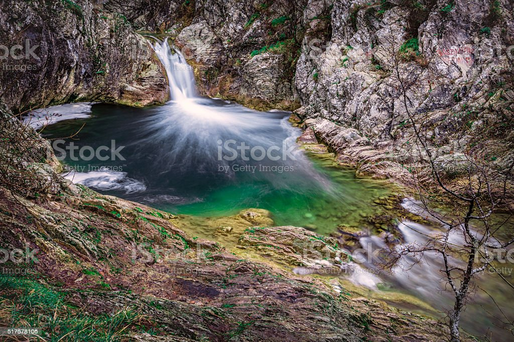 Elevated view of beautiful waterfall in rural nature -stock image stock photo