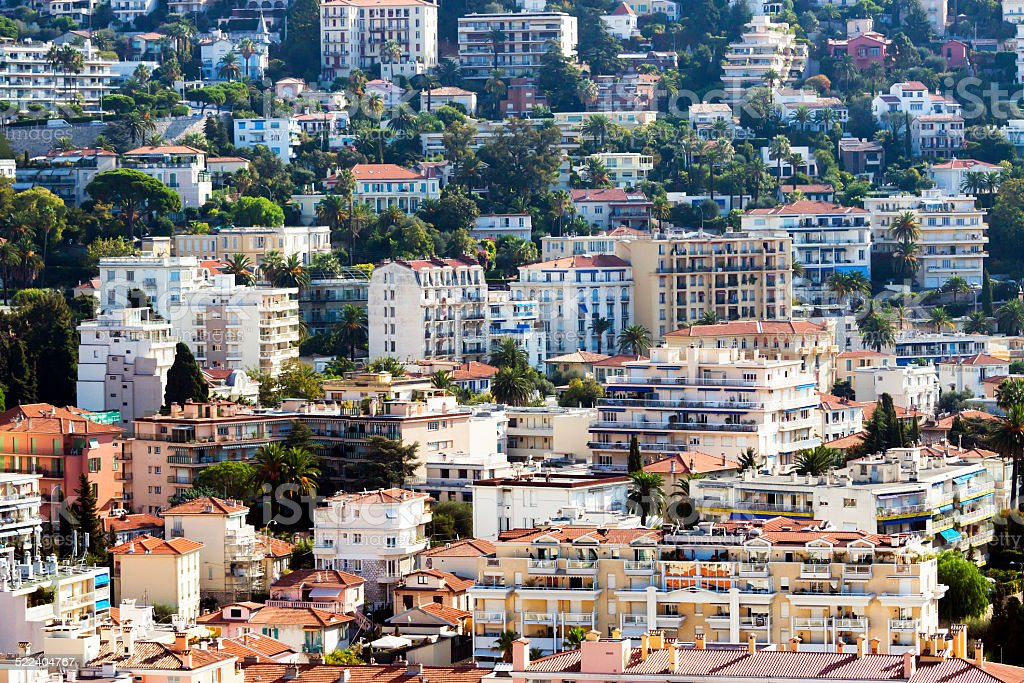 Elevated view of city, Nice, France stock photo