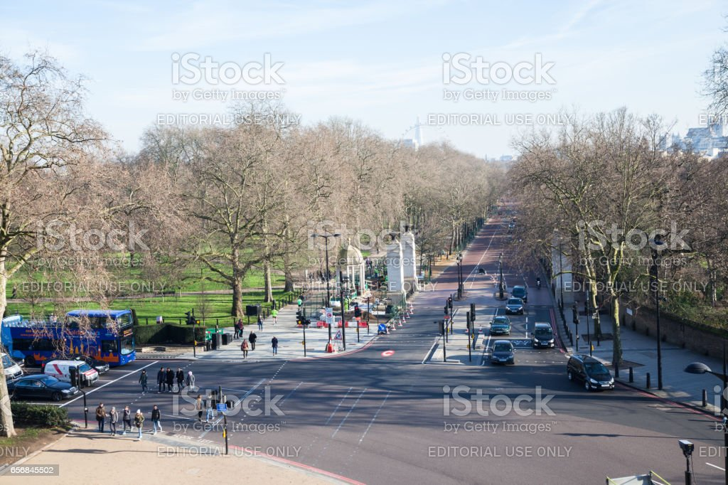 Elevated view of Constitution Hill junction with Hyde Park Corner, at entrance to Green Park on cold sunny winter day stock photo