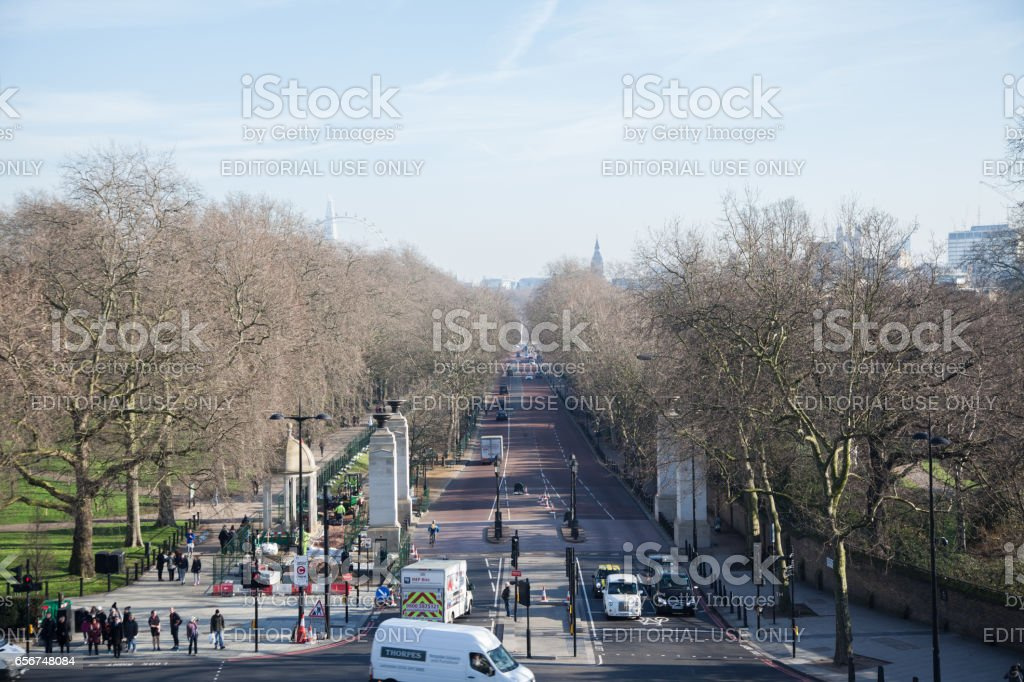 Elevated view of Constitution Hill towards Westminister London on cold sunny winter day stock photo