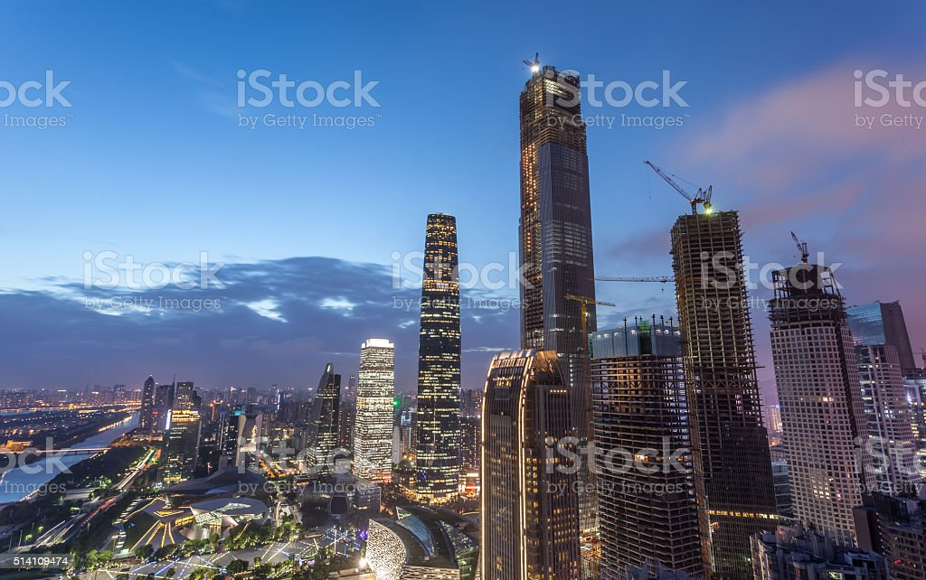 Elevated View of Construction Site in Guangzhou CBD stock photo