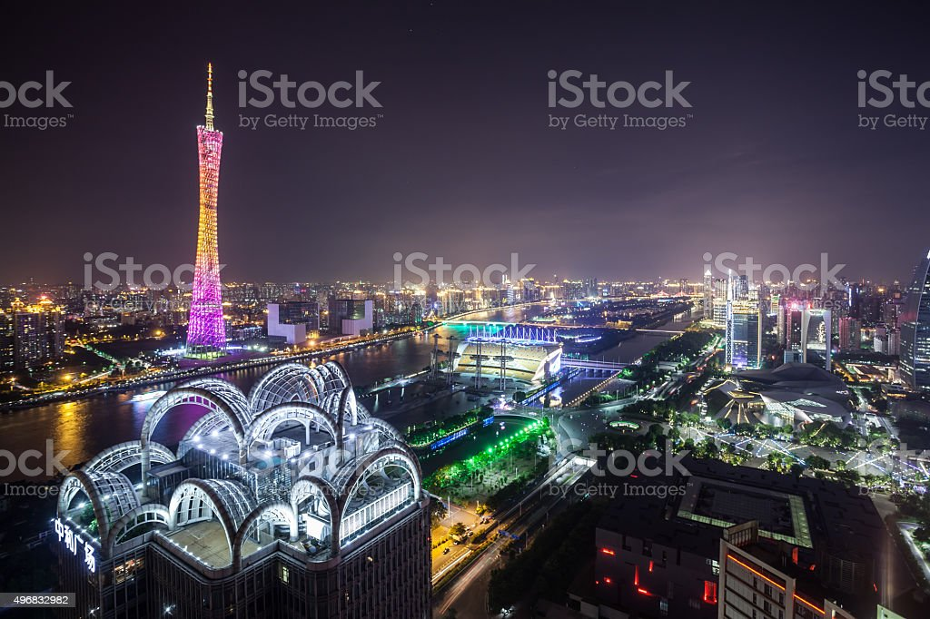 Elevated view of Guangzhou CBD Night stock photo