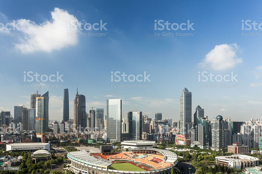 Elevated view of Guangzhou CBD stock photo