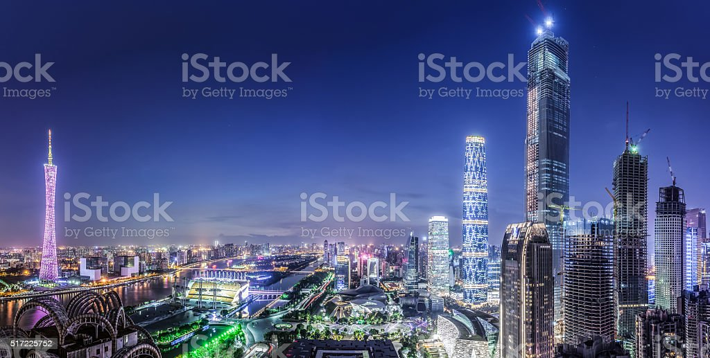 Elevated View of Guangzhou Landmarks stock photo