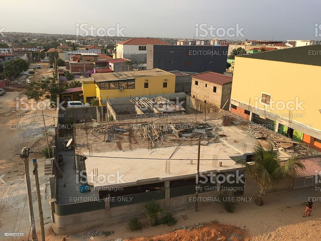Elevated view of half-built residential building in Luanda, Angola stock photo