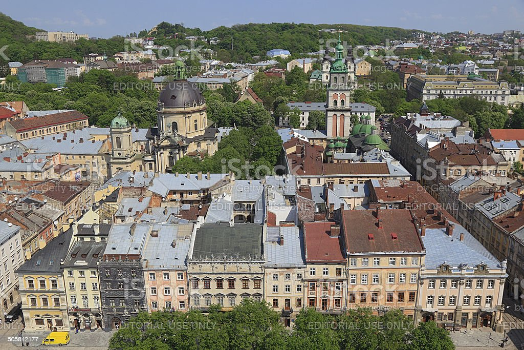 Elevated view of heritage-listed Lviv Old Town stock photo