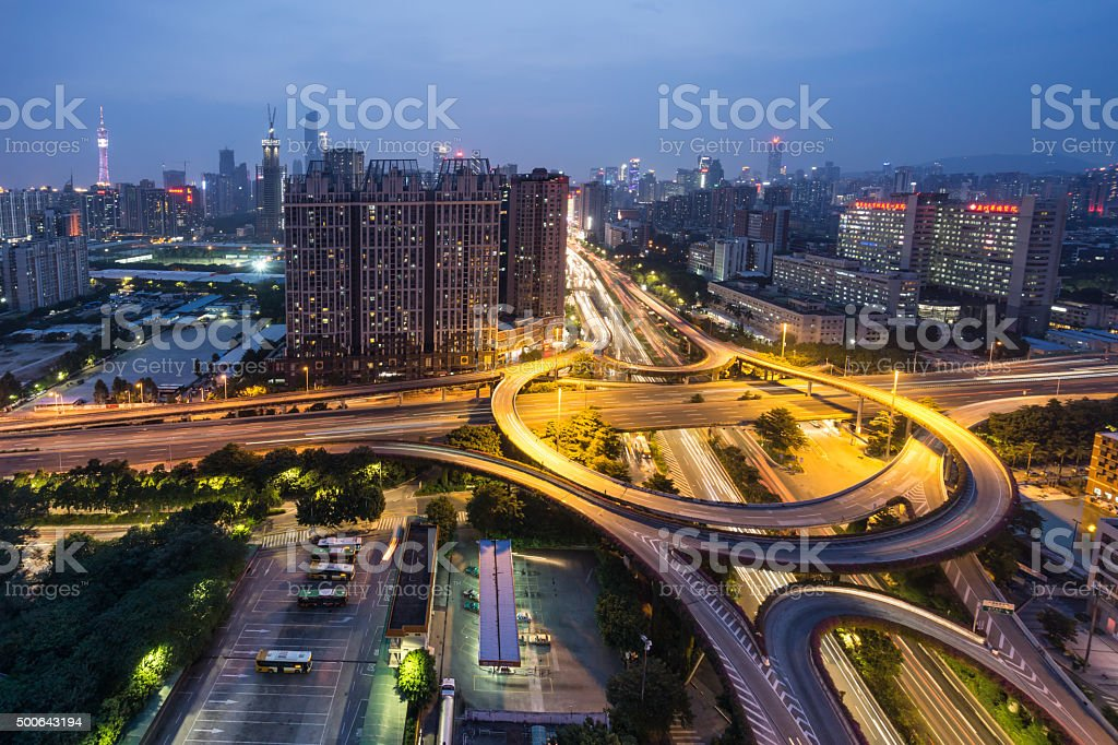 Elevated View of Huangpu Overpass stock photo