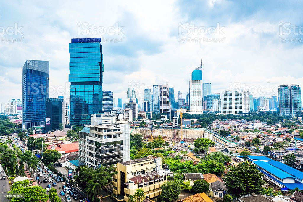 Elevated view of Jakarta's Skyline stock photo